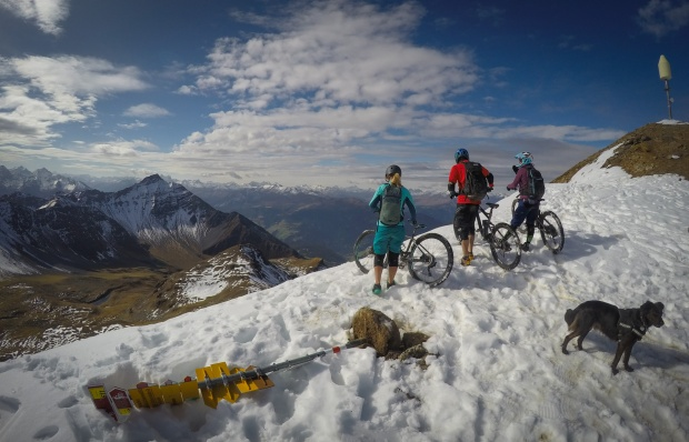 mountain bikers on top of Rothorn in Lenzerheide Switzerland