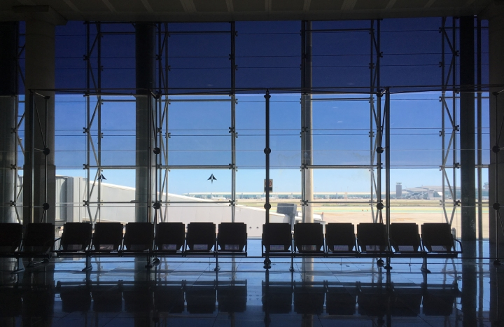 empty airport gate in Barcelona